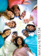 Купить «Friends forming huddle», фото № 6103134, снято 12 ноября 2013 г. (c) Wavebreak Media / Фотобанк Лори