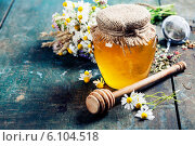 Купить «Стеклянная банка с мёдом и ромашки», фото № 6104518, снято 14 июня 2014 г. (c) Наталия Кленова / Фотобанк Лори