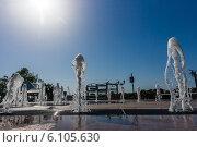Купить «Струи цвето-музыкального фонтана на набережной Ростова-на-Дону», фото № 6105630, снято 18 мая 2014 г. (c) Борис Панасюк / Фотобанк Лори