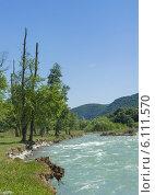 Большой Зеленчук - основной приток Кубани летом. Стоковое фото, фотограф Ерохин Валентин / Фотобанк Лори