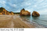 Купить «Potistika beach sunrise view (Greece)», фото № 6117038, снято 7 июня 2014 г. (c) Юрий Брыкайло / Фотобанк Лори