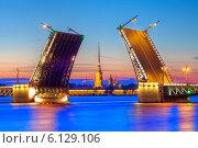 Купить «Символ Санкт-Петербурга - разведённый Дворцовый мост», эксклюзивное фото № 6129106, снято 14 июня 2014 г. (c) Литвяк Игорь / Фотобанк Лори