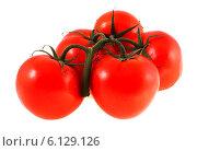 Купить «Гроздь томатов на белом фоне», фото № 6129126, снято 12 июля 2014 г. (c) Литвяк Игорь / Фотобанк Лори