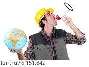Купить «craftsman shouting through a megaphone and holding a globe», фото № 6151842, снято 3 февраля 2011 г. (c) Phovoir Images / Фотобанк Лори