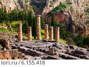 Купить «Разрушенный храм в Дельфах», фото № 6155418, снято 7 января 2014 г. (c) Сергей Новиков / Фотобанк Лори