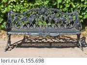 Купить «Чугунная скамья - диван в парке Кусково. Каслинское литьё.», эксклюзивное фото № 6155698, снято 17 июля 2014 г. (c) Lora / Фотобанк Лори