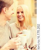 Купить «romantic happy couple in the cafe», фото № 6170202, снято 6 сентября 2013 г. (c) Syda Productions / Фотобанк Лори