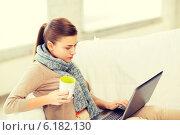 Купить «diseased woman in scarf using laptop at home», фото № 6182130, снято 1 июня 2013 г. (c) Syda Productions / Фотобанк Лори