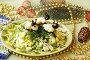 Салат витаминный, украшенный символом 2015 года - фигурками овечек из цветной капусты, фото № 6199658, снято 25 июля 2014 г. (c) Natalya Sidorova / Фотобанк Лори