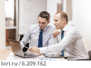 Купить «two businessmen having discussion in office», фото № 6209162, снято 9 ноября 2013 г. (c) Syda Productions / Фотобанк Лори