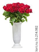 Большой букет красных роз в белой вазе. Стоковое фото, фотограф Олег Родионов / Фотобанк Лори