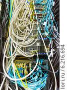 Купить «Провода в центре обработки данных», фото № 6216694, снято 28 января 2020 г. (c) Mikhail Starodubov / Фотобанк Лори