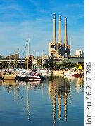 Купить «Port de Badalona with chimneys abandoned power plant in background», фото № 6217786, снято 2 июня 2014 г. (c) Яков Филимонов / Фотобанк Лори