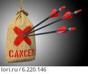 Купить «Острые стрелы в мешке с надписью Cancer», иллюстрация № 6220146 (c) Илья Урядников / Фотобанк Лори