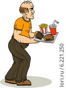 Толстый мужчина с подносом с едой. Плохое питание. Стоковая иллюстрация, иллюстратор Константин Костенко / Фотобанк Лори