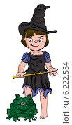 Волшебница с лягушкой. Стоковая иллюстрация, иллюстратор Надежда Хорошилова / Фотобанк Лори