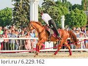 Купить «Джигитовка на конном шоу Кремлевской Школы Верховой езды на ВДНХ», эксклюзивное фото № 6229162, снято 1 июля 2014 г. (c) Алёшина Оксана / Фотобанк Лори