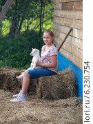 Девочка с козленком. Стоковое фото, фотограф Svetlana Zavrazhina / Фотобанк Лори