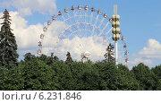 Купить «Колесо обозрения в Москве», видеоролик № 6231846, снято 4 августа 2014 г. (c) Владимир Журавлев / Фотобанк Лори