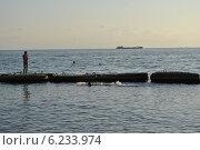 Вечернее купание в море. Стоковое фото, фотограф Юлия Елисеева / Фотобанк Лори