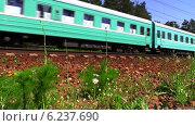 Пассажирский поезд Астана-Москва. Съемка с нижней точки. Стоковое видео, видеограф Арташес Оганджанян / Фотобанк Лори