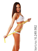 Yellow measure on woman body. Стоковое фото, фотограф Александр Буц / Фотобанк Лори