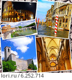 Купить «Пейзажи итальянских городов, Рим, Флоренция, Пиза, Венеция. Коллаж из фотографий», фото № 6252714, снято 16 октября 2018 г. (c) Vitas / Фотобанк Лори
