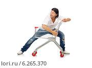 Купить «Man shopping with supermarket basket cart isolated on white», фото № 6265370, снято 2 июня 2014 г. (c) Elnur / Фотобанк Лори