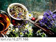 Купить «Травяной чай на деревянном столе», фото № 6271166, снято 14 июня 2014 г. (c) Наталия Кленова / Фотобанк Лори