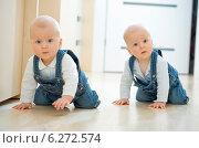 Купить «Baby twins crawling on the floor», фото № 6272574, снято 25 июня 2019 г. (c) BE&W Photo / Фотобанк Лори