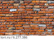 Стена из оранжевого кирпича. Стоковое фото, фотограф Павел Годин / Фотобанк Лори