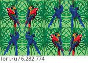 Бесшовный фон с попугаями ара на ветках. Стоковая иллюстрация, иллюстратор Irene Shumay / Фотобанк Лори