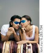 Купить «Woman and man lying on bed with eye compresses.», фото № 6283794, снято 19 марта 2019 г. (c) BE&W Photo / Фотобанк Лори