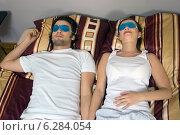 Купить «Woman and man lying on bed with eye compresses.», фото № 6284054, снято 19 марта 2019 г. (c) BE&W Photo / Фотобанк Лори