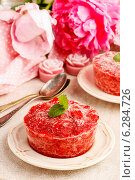 Strawberry sorbet decorated with mint leaf. Summer party dessert. Стоковое фото, агентство BE&W Photo / Фотобанк Лори