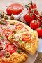 Italian cuisine: pizza. Traditional dish, фото № 6285206, снято 25 марта 2015 г. (c) Joanna Malesa / Фотобанк Лори