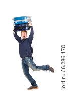 Купить «Funny man with luggage on white», фото № 6286170, снято 27 марта 2014 г. (c) Elnur / Фотобанк Лори