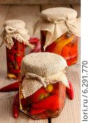 Купить «Pickled red peppers. Healthy food», фото № 6291770, снято 26 марта 2019 г. (c) BE&W Photo / Фотобанк Лори