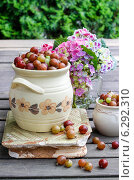 Купить «Jug of gooseberry on wooden table. Summer fruits», фото № 6292310, снято 20 ноября 2018 г. (c) BE&W Photo / Фотобанк Лори