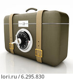 Купить «Коричневый кожаный чемоданчик с сейфовым замком», фото № 6295830, снято 25 февраля 2020 г. (c) Guru3d / Фотобанк Лори