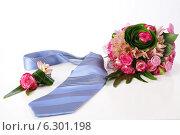 Купить «Свадебный букет и бутоньерка», фото № 6301198, снято 13 мая 2011 г. (c) Зудин Виталий Владимирович / Фотобанк Лори