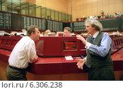 Купить «Floor trading on the Frankfurt Stock Exchange», фото № 6306238, снято 7 мая 2002 г. (c) Caro Photoagency / Фотобанк Лори