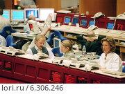 Купить «Floor trading on the Frankfurt Stock Exchange», фото № 6306246, снято 7 мая 2002 г. (c) Caro Photoagency / Фотобанк Лори