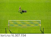 Купить «Maintenance of the lawn in the Arena Lviv, venue of the UEFA Euro 2012, Lviv, Ukraine», фото № 6307154, снято 3 мая 2012 г. (c) Caro Photoagency / Фотобанк Лори