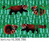 Зеленый бамбук и рыжая панда. Бесшовный фон. Стоковая иллюстрация, иллюстратор Irene Shumay / Фотобанк Лори