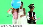 Купить «Cute children dressed up in costumes», видеоролик № 6308958, снято 16 июля 2019 г. (c) Wavebreak Media / Фотобанк Лори