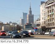 Купить «Traffic on Jerozolimskie Avenue near Poniatowski Bridge in Warsaw», фото № 6314770, снято 26 июня 2019 г. (c) BE&W Photo / Фотобанк Лори
