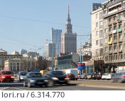 Купить «Traffic on Jerozolimskie Avenue near Poniatowski Bridge in Warsaw», фото № 6314770, снято 11 июля 2020 г. (c) BE&W Photo / Фотобанк Лори