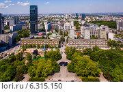 Купить «Panoramic view of Warsaw city center», фото № 6315150, снято 26 июня 2019 г. (c) BE&W Photo / Фотобанк Лори