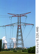 Купить «Power pole in front of a nuclear power plant in France», фото № 6326446, снято 23 мая 2003 г. (c) Caro Photoagency / Фотобанк Лори
